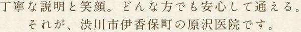 丁寧な説明と笑顔。どんな方でも安心して通える。それが、渋川市伊香保町の原沢医院